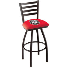 University of Georgia 25'' Black Wrinkle Finish Swivel Counter Height Stool with Ladder Style Back
