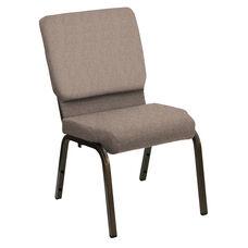 HERCULES Series 18.5''W Church Chair in Shire Sesame Fabric - Gold Vein Frame