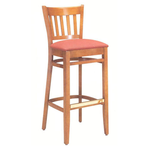 1850 Bar Stool w/ Upholstered Seat & Brass Trim Footrest - Grade 2
