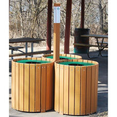 Recycled Plastic 96 Gallon Recycling Center with 3 Bins