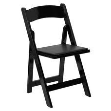 HERCULES Series Black Wood Folding Chair with Vinyl Padded Seat