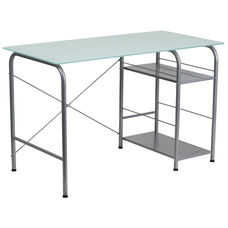 Glass Computer Desk with Open Storage