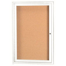 1 Door Indoor Illuminated Enclosed Bulletin Board with White Powder Coated Aluminum Frame - 24''H x 18''W