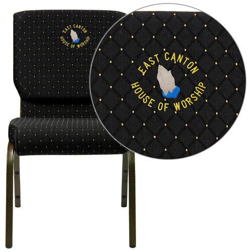 Embroidered HERCULES Series 18.5''W Stacking Church Chair in Black Dot Patterned Fabric - Gold Vein Frame