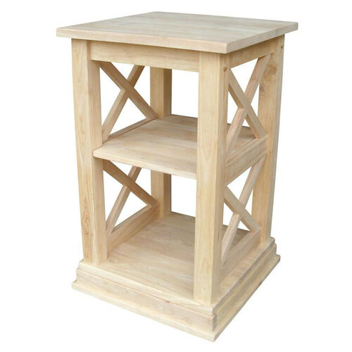 Hampton Solid Parawood 16''W X 26''H Accent Table with Storage Shelves - Unfinished