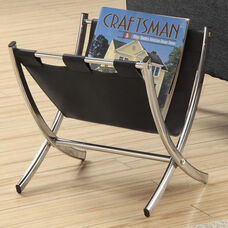 Faux Leather and Chrome 15''H Magazine Rack - Black