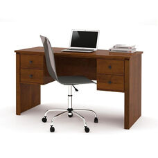 Somerville Executive Desk with Two Pedestals and Drawers - Tuscany Brown