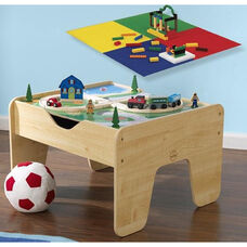 2 in 1 Activity Table for Trains and LEGO® Double Sided Play Board - Natural