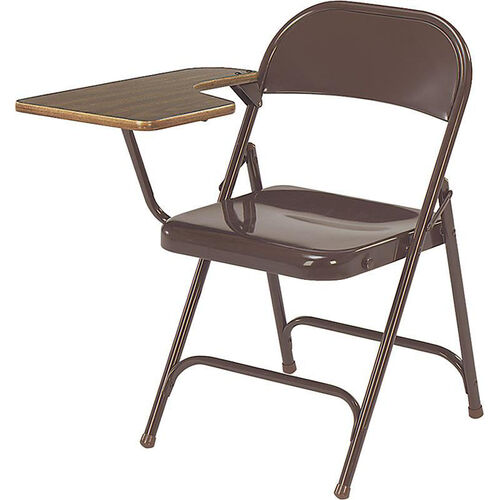 Multi-Purpose Steel Folding Chair with Laminate Tablet Arm - Brown Chair and Walnut Tablet - 17.75''W x 18.75''D x 29.5''H