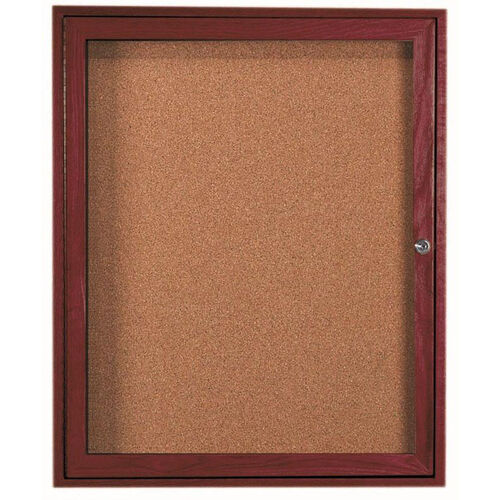 1 Door Enclosed Bulletin Board with Cherry Finish - 36''H x 30''W