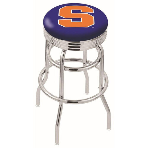 Syracuse University 25'' Chrome Finish Double Ring Swivel Backless Counter Height Stool with Ribbed Accent Ring