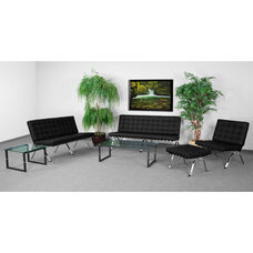 HERCULES Flash Series Living Room Set in Black with Free Glass Coffee and End Table