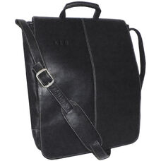 17'' Vertical Laptop Messenger Bag- Colombian Vaquetta Leather - Black