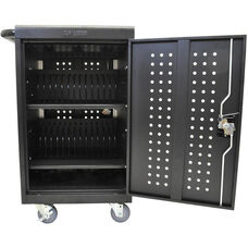 Locking Steel 30 Tablet/Chromebook Charging Cart - Black - 24.5''W x 21.25''D x 37.5''H