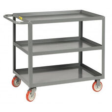 Welded Service Cart With 3 Lipped Shelves - 18''W x 32''D