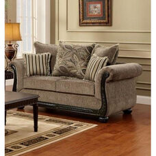 Lily Traditional Style Polyester Loveseat - Dream Java