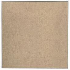 Burlap Weave Vinyl Bulletin Board with Aluminum Clear Satin Anodized Frame - Coffee Cream - 48''H x 48''W
