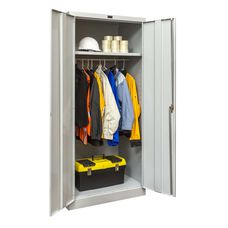 800 Series Antimicrobial One Wide Single Tier Double Door Wardrobe Cabinet - Unassembled - Platinum - 36''W x 78''H