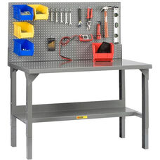 Adjustable Height Welded Workbench with Pegboard - 28''W x 72''D
