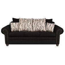 Amanda Transitional Style Polyester Sofa - Delray Black and Jazzy Granite