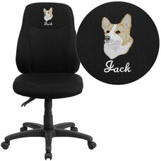 Embroidered Mid-Back Black Fabric Multifunction Ergonomic Swivel Task Chair