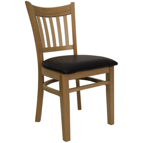 Vertical Slat Chair with Natural Finish and Black Vinyl Seat