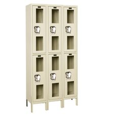 Safety Clear View Three Wide Double-Tier Locker Unassembled - Parchment Finish - 36''W x 15''D x 78''H