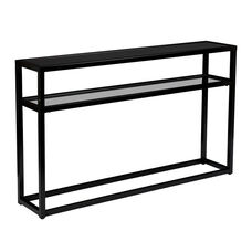 Baldrick Contemporary 50.25''W x 10''D Console Table with Tempered Glass - Soft Black