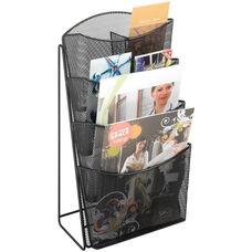 Onyx™ 9.75'' W x 6.5'' D x 18'' H Mesh Four Pocket Magazine Rack - Black