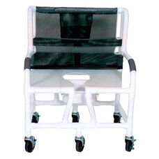Bariatric Shower Commode Chair with Casters - 700 lbs Capacity - 34''W X 28''D X 43''H