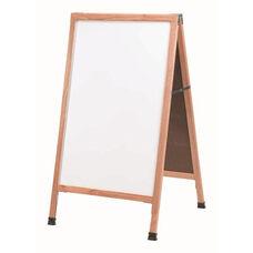 A-Frame - Sidewalk White Melamine Marker Board with Solid Red Oak Frame - 42''H x 24''W