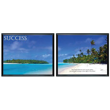 Advantus 30'' W x 24'' L Framed Panorama Motivational Art Prints Two Pack - Success with Island Beach