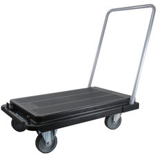 Heavy Duty Flat Platform Folding Cart with 5'' Casters - Black
