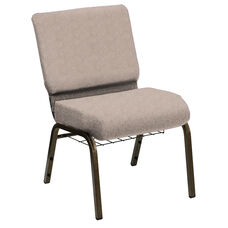 HERCULES Series 21''W Church Chair in Shire Travertine Fabric with Book Rack - Gold Vein Frame