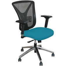 Fermata Executive Mesh Chair with Aluminum Base - Teal Fabric
