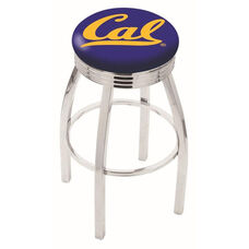 University of California Berkeley 25'' Chrome Finish Swivel Backless Counter Height Stool with 2.5'' Ribbed Accent Ring