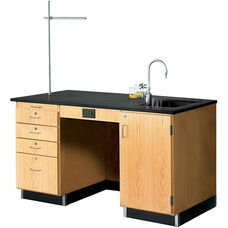 Science Instructor's Wooden Desk with 1'' Thick Black Epoxy Resin Top and Right Oriented Sink - 60''W x 30''D x 36''H