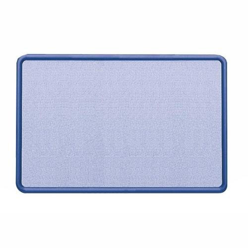Quartet Fabric Covered Tack Board - 48'' x 36'' - Light Blue/Navy