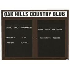2 Door Outdoor Illuminated Enclosed Directory Board with Header and Black Anodized Aluminum Frame - 48''H x 60''W