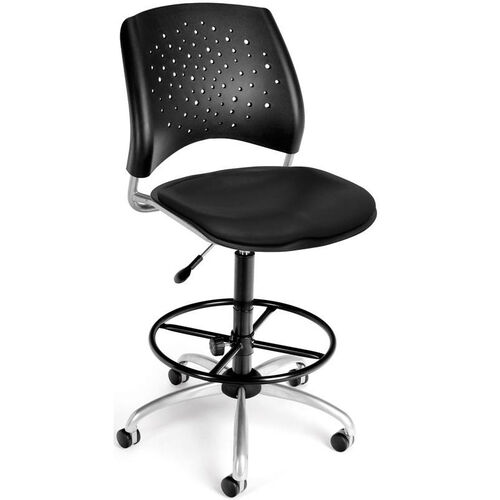 Stars Swivel Chair with Vinyl Seat and Drafting Kit - Black
