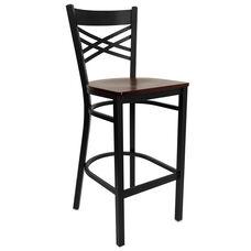 Black ''X'' Back Metal Restaurant Barstool with Mahogany Wood Seat