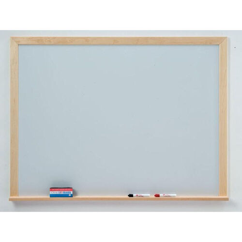 Quick Ship WLCS Series Deluxe Markerboard with Wood Frame - 48''W x 48''H