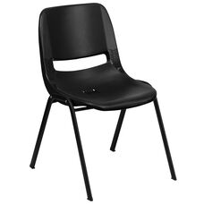 HERCULES Series 440 lb. Capacity Black Ergonomic Shell Stack Chair with Black Frame and 14'' Seat Height