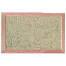Burlap Weave Vinyl Bulletin Board with Red Oak Frame and Clear Lacquer Finish - Coffee Cream - 12''H x 18''W