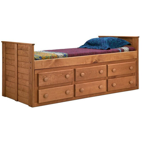 Rustic Style Solid Pine Panel Bed with Underbed Storage - Twin - Mahogany Stain