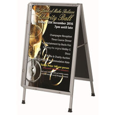Satin Anodized Lightweight Aluminum Snap Frame A-Frame Sidewalk Poster/Sign Holder with Clear Acrylic Cover and Steel Reinforced Corners - 26''W x 26''D x 44''H