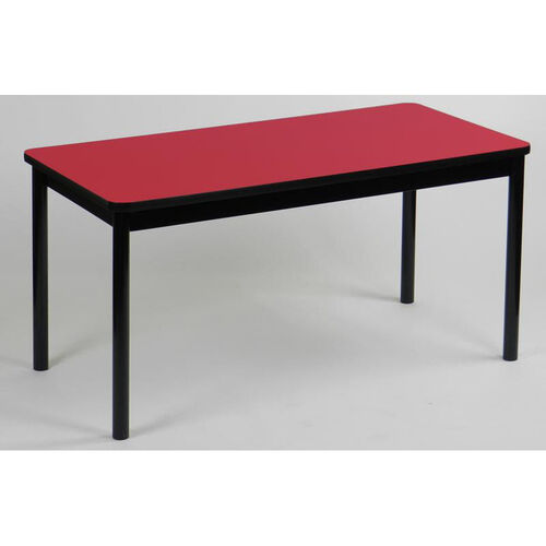 High Pressure Laminate Rectangular Library Table with Black Base and T-Mold - Red Top - 24''D x 48''W