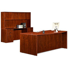 Cherry 70.75''W Bow Front Desk with Credenza and Hutch