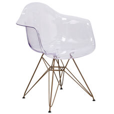 Allure Series Transparent Side Chair with Gold Base