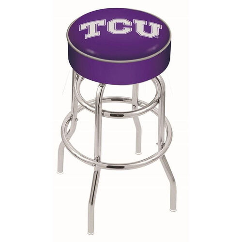 Texas Christian University 25'' Chrome Finish Double Ring Swivel Backless Counter Height Stool with 4'' Thick Seat